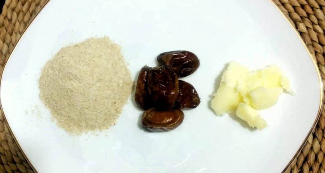 باسلام | Basalam - مواد لازم برای پخت توپک خرمایی شامل کره خرما و سویق